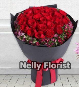 bouquet ultah mawar merah BU-004