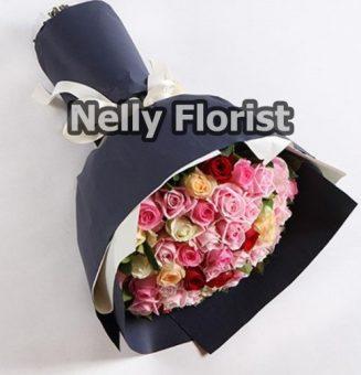 bouquet ultah mawar campur warna BU-009