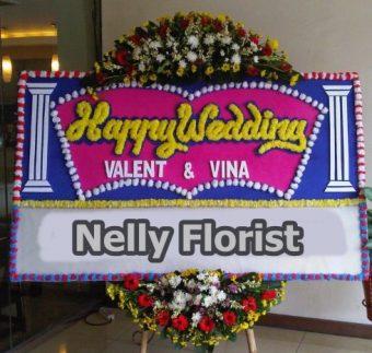 bunga papan happy wedding